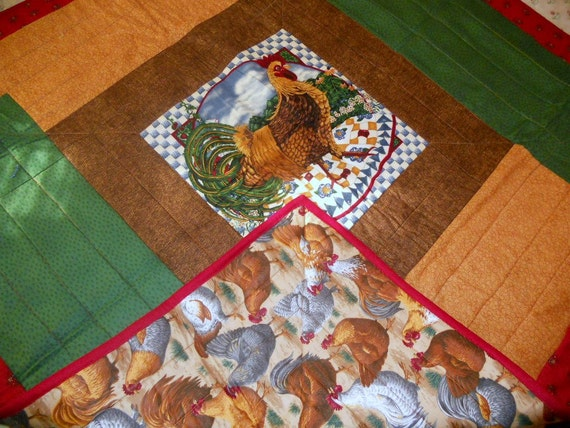 Rooster Quilt Wall Hanging Lap Throw