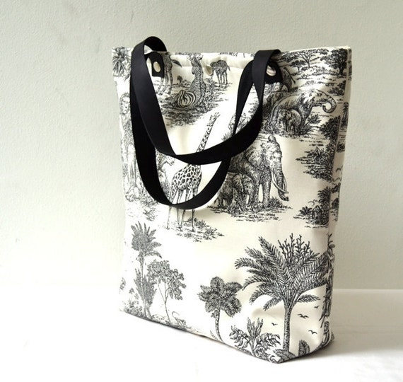 Cotton Leather Tote Bag, Savanna Life Printed Fabric and Leather, Beach, School, Diaper Bag, Book or Magazine Tote, Purse, Shoulder Bag
