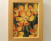 Yellow Flowers, Framed ORIGINAL Painting, Buttercups, Yellow, Green, Orange Flowers, Wood Frame, Birthday Gift