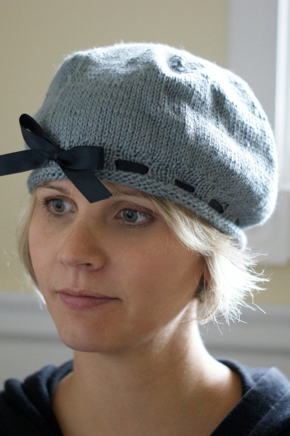 Womens Slouchy Silk Hat Bamboo gray and black