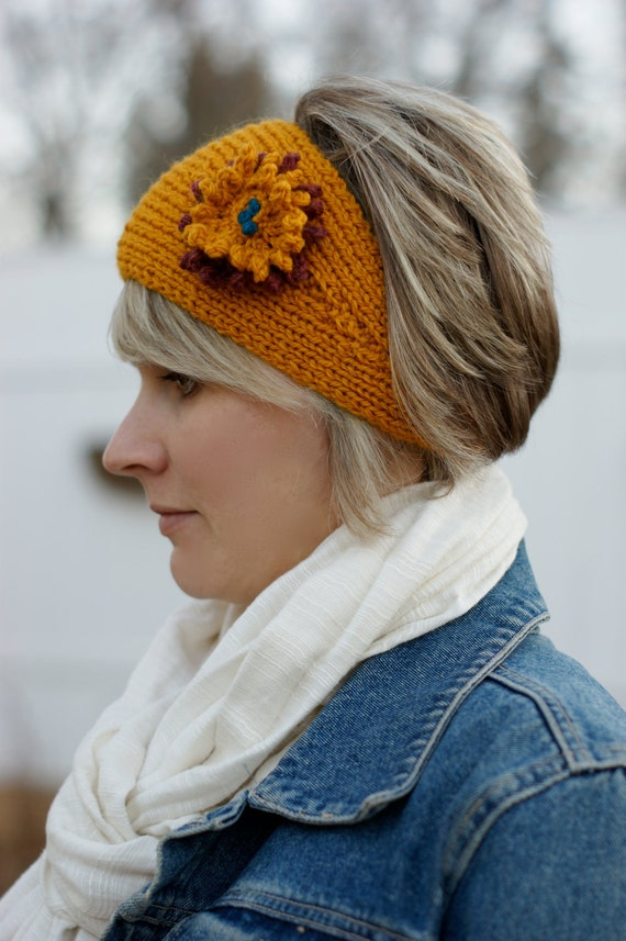 Knit Headband Ear Warmer with Flower