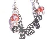 Butterfly Earrings - Strawberry Rose Czech Rondelle Beads - Charm, Dangle Earrings - Summer Earrings