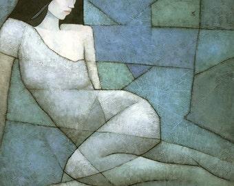 Alcyone, Aqua Female Figure Painting, Signed Giclee Print