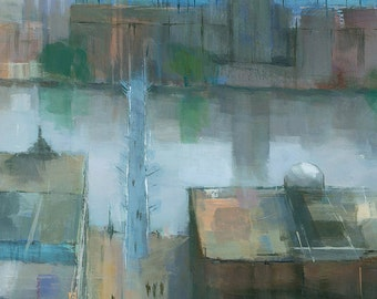 London Cityscape Painting (detail), Signed Giclee Art Print, 20x10 inches