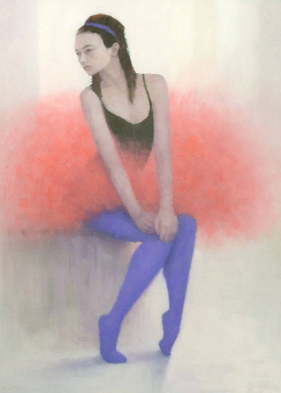 Ready to Fly, Ballerina, Ballet Figure Painting, Signed Giclee Print 15.5x11 inches