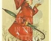 Vintage Postcard Alfred Mainzer Bonnie - Little Girl in Rain Coat - Umbrella -  Printed in Belgium