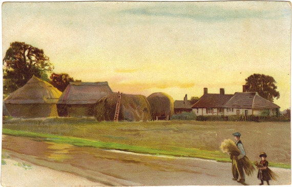 Antique Postcard Painting Man and Girl Carrying Wheat English Country Side