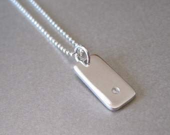 Silver Charm with Genuine 1 Point Diamond Necklace