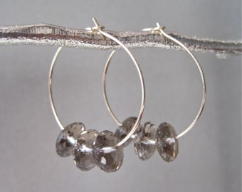 Gold Hoop Earrings with Smoky Quartz Accents