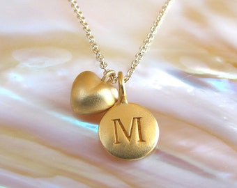Gold Initial & Mini Heart Charm Necklace