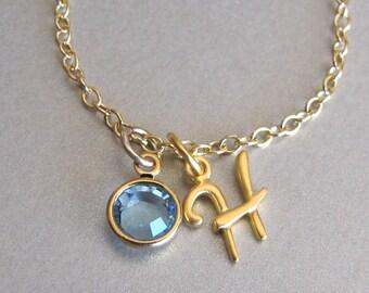 Gold Script Initial & Birthstone Charm Bracelet