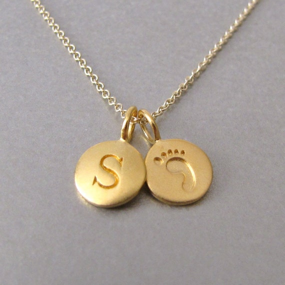 Gold Initial & Baby Foot Print Charm Necklace