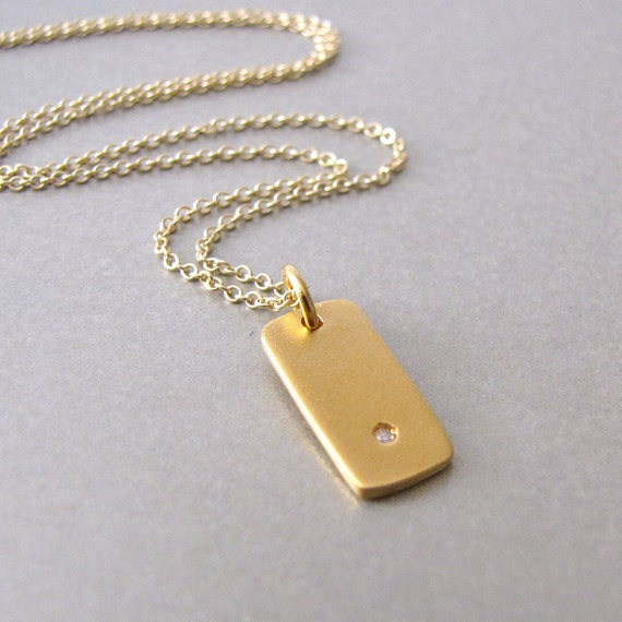 Gold & Diamond Tag Charm Necklace