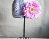 Girls White Beanie Hat with Pink Flower, 1-11 yrs
