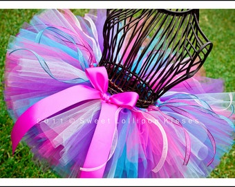 Birthday Wish Tutu, Girls Tutu Skirt READY TO SHIP Size: 2-3T - Baby Girl 1st Birthday Tutu, Hot Pink Purple Turquoise, Infant Tutu Outfit