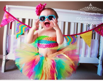 Tutu Skirt for Children, Rainbow Tutu ***READY TO SHIP in Size 12-24M*** Baby 1st Birthday Tutu, Candyland Tutu, Girls Tutu Outfit