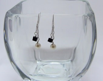 Sterling Silver Fused Agate and Swarovski Pearl Earrings