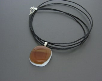 Amber colored Fused Glass Pendant