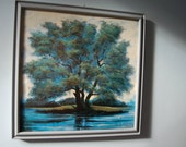 Garé Tree Print with Frame - Vintage Art Print Blues Greens Aqua