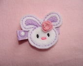 Embroidered Bunny Hair Clip -lavender with rosette  READY TO SHIP
