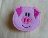 Pig large pink embroidered-Hair Clip READY TO SHIP