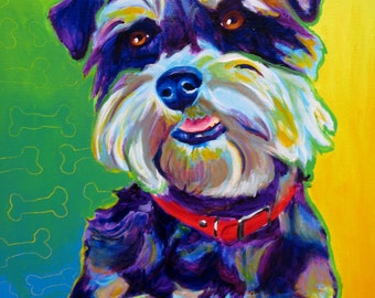 Miniature Schnauzer, Pet Portrait, DawgArt, Dog Art, Pet Portrait Artist, Colorful Pet Portrait, Schnauzer Art, Pet Portrait Painting