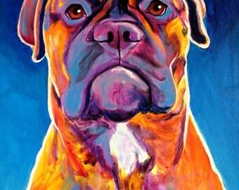 Bullmastiff, Pet Portrait, DawgArt, Dog Art, Bullmastiff Art, Pet Portrait Artist, Colorful Pet Portrait, Art, Art Prints, Mastiff Art
