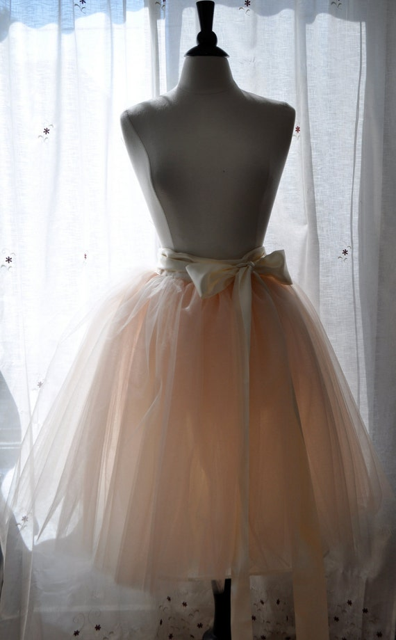 Peachy Dream Tutu - Romantic Ballerina Tulle Skirt with Lining and Satin Sash by Anjou - Whimsical Wedding, Party, Prom, Plus Size
