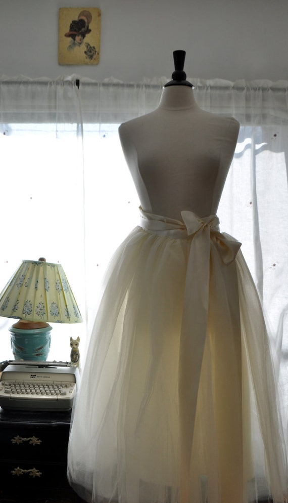 Floor Length Tutu - Romantic Ballerina Bridal Tulle Skirt with Lining and Satin Sash by Anjou - Whimsical Wedding, Party, Prom, Plus Size