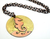 Steampunk Necklace Seahors Copper And Brass