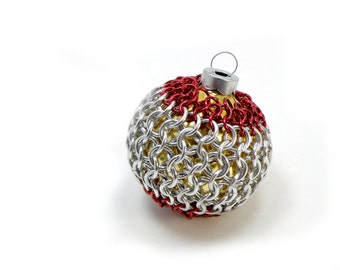 Christmas Tree Ornament Glass Globe With Red & Silver Chainmaille