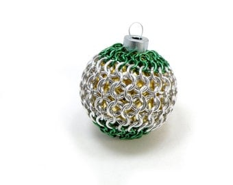 Christmas Tree Ornament Unique Handmade Green And Silver Chainmaille Over Vintage Glass