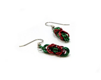 Red And Green Christmas Earrings Handmade Chainmaille Design