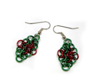 Christmas Earrings Red And Green Holiday Jewelry