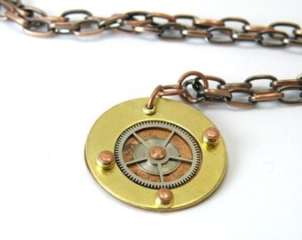 Steampunk Gear Necklace Made From Copper And Brass OOAK