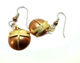 Steampunk Earrings Made From Copper And Brass Dragonflies