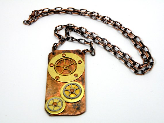 Steampunk Necklace Hammered Copper And Gears