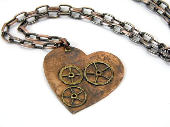 Steampunk Gear Heart Necklace Handcrafted Copper With Brass