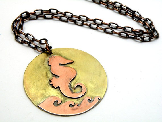 Steampunk Style Seahorse Necklace Handmade From Copper And Brass