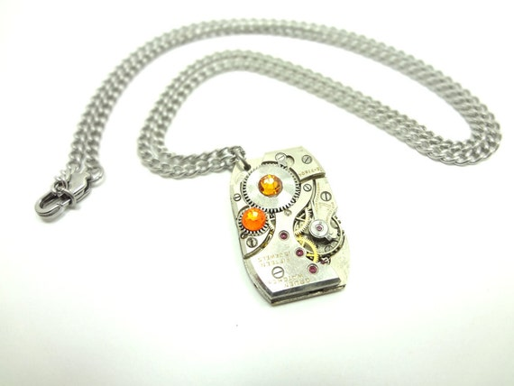Steampunk Necklace Watch Movement & Orange Crystals SPN-6438