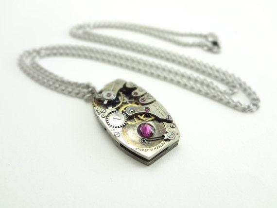 Steampunk Necklace Vintage Bulova Clockwork Pendant With Swarovski Crystal