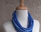 Beaded Shades of Blue Jersey Infinity Scarf, Handmade, Tee Shirt Scarf