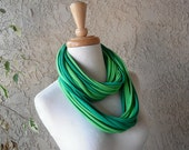 Deluxe Jaded Green 3-in-1 Jersey Scarf Necklace, Jade Green, Lime Green, Tee Shirt Scarves