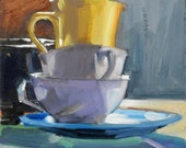 Turquoise Plate Yellow Cup and Sienna Wall