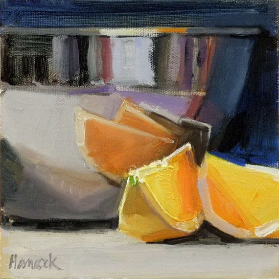 Silver Bowl and Orange Slices with a touch of lavender