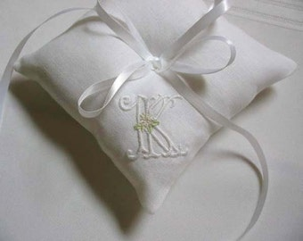 Custom Monogram Ring Bearer Pillow Made to Order Wedding Ring Pillow Custom Embroidered Ring Cushion Embroidery Custom Embroidered Wedding