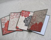 Handcrafted, Handmade, Pretty Flowers Note Card Set of 4, Note Cards, Blank Cards, All Occasion Cards, Invitations, Thank You Cards