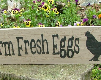 """Chicken Coop Farm Fresh Eggs Wooden Sign (Aged """"Barn Wood"""" Style Colors)"""