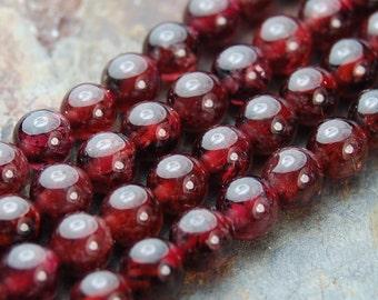 Garnet Beads, 6mm natural round beads  -15.5 inch strand