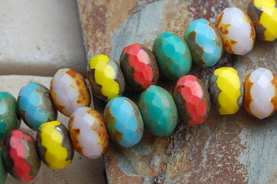 Czech Picasso Beads Glass Puffed Rondelles 9x6mm- 7 inch strand czr006